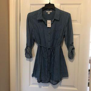 NWT Motherhood Maternity Jean Button Up Tunic Top